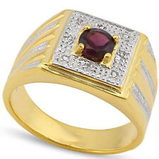 STUNNING  3/5 CARAT GARNET & (8 PCS) DIAMOND 925 STERLING SILVER MENS RING
