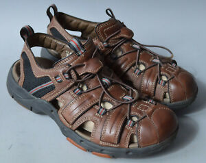 Men's Brown Tan Clarks Unstructured Leather Fisherman Sandals Size UK 8G.