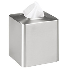 Facial 1 Boutique Tissue Box Cover for Bathroom Vanity Brushed Stainless Steel