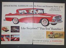 Advertising-print Advertising Original Print Ad 1956 Hudson Dealers Rambler Cross Country 2 Page