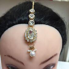 Gold Tone Indian Diamante Crystal Matha Tikka Head Chain Jewellery Wedding