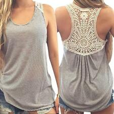 Hot Women Summer Lace Vest Top Short Sleeve Blouse Casual Tank Tops T-Shirt M