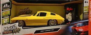✅Maisto Tech R/C Yellow w Black Stripe 1963 Corvette 49 MHz 1.24 Street Series