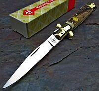 Kissing Crane Genuine Stag Horn Handles Italian Stiletto Folding Pocket Knife