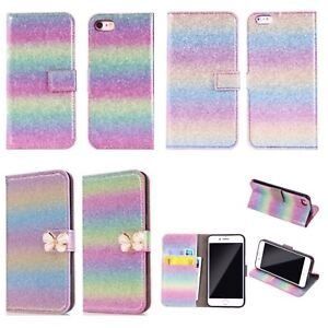 Sparkly Glitter Rainbow Colour Leather Wallet Flip Case Cover For iPhone Samsung