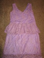 BNWT UK 14 River Island Dress Floral Lace Peplum Layer Vintage Lilac Purple