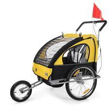 Convertible jogger remorque velo 2en1 jaune noir jusqu'a 2 enfants amortisseur