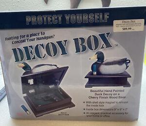 Duck Decoy Box Magnetic Locking Gun Concealment Cherry Finish Wood Base
