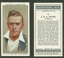 PLAYER'S 1934 CRICKETERS J.H.A.HULME Card No 13 of 50 CRICKET CIGARETTE CARD