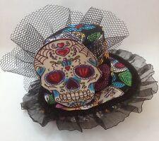 Sugar Skull Mini Top Hat