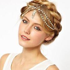 Stirnband Weisse Perlen Haarband Haarkette Haarschmuck Tikka Stirnschmuck 12