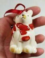 POLAR BEAR in SANTA HAT Vintage Ceramic Christmas Tree Ornament Figurine