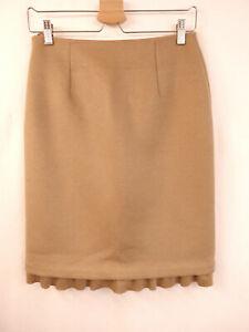 PRADA Rock  Gr.36 I42 Skirt Volant Wolle Angora Kaschmir Cashmere Beige Camel