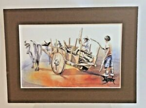 Lopez Baylon Watercolor Painting Artist Signed Haul Gather Wood Wagon Oxen