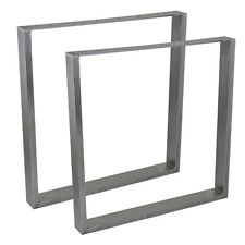 Set of 2 Industrial Metal Rectangle Table Legs Dining 710 x 700mm Raw Steel