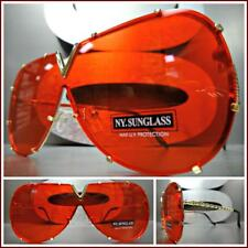 VINTAGE RETRO SHIELD Style Party Rave Club DJ SUN GLASSES Gold Frame Red Lens