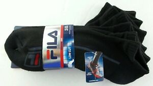 FILA Men's Low Cut Socks 3 Pack Large Black Red Neon Athletic Dry Cushion Sport
