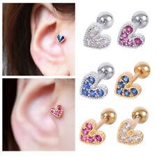 Colorful Heart Zircon Ear Stud Titanium Steel Body Piercing Love Crystal Earring
