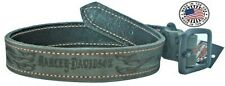 4 Sizes!!! Harley-Davidson Flame Embossed Leather Dog Collar Grey -FREE SHIPPING