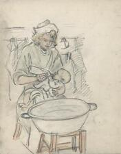 MOTHER FEEDING BABY Antique Pencil Drawing c1940