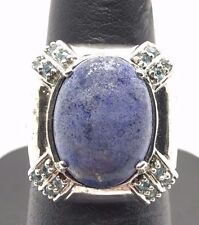 Sterling Silver 925 Oval Blue Lapis Lazuli / Aquamarine Accent X Cocktail Ring 7