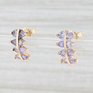 1.75ctw Tanzanite Journey Earrings 14k Yellow Gold Pierced Drops