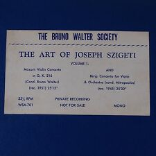 JOSEF SZIGETI: The Art Of, Volume 1 BRUNO WALTER Society Private Violin LP NM-