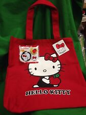Sanrio 35th Anniversary Hello Kitty NEW Red Canvas Tote Bag Bonus Pins Free Ship