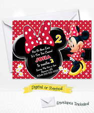 PRINTED Disney Minnie Mouse Birthday Invitations Red Minnie with Daisies Party
