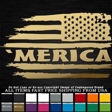 'Merica USA Tattered Flag right Stars & Stripes sticker decal