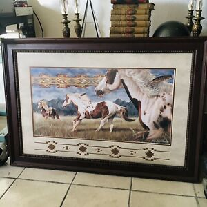 Wild Horses WESTERN ART David Behrens 40x28 Framed Native American Art Chicano