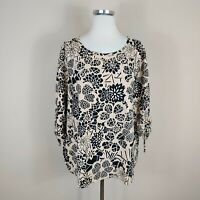 Hot Cotton Women's Sz 2X Top Tunic Blue Yellow White Floral 3/4 Tie Sleeve #RR