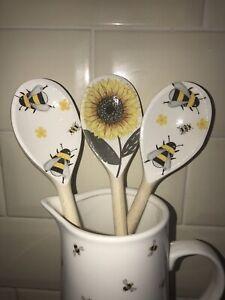 Bees Sunflower Wooden Spoon Kitchen Accessories Set Gift For Teachers Birthday