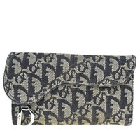 Auth Christian Dior Trotter Pattern Trifold Wallet Canvas Leather Black 01MD127