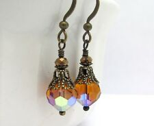 CRYSTAL EARRINGS ~Tiny HONEY AMBER BROWN Antiqued Brass Gold Trim VICTORIAN