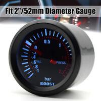 Universal 52mm Bar Blue Led Light Pressure Turbo Boost Gauge Meter DC 12V