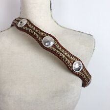 Tony Lama Western Leather Belt Brown Woven Laced Conchos 7106L Mens 36