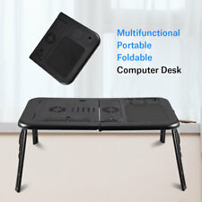 Folding Laptop Desk Adjustable Computer Table Stand Tray Bed Sofa Cooling Fan UK