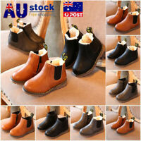 AU kids Shoes Leather Ankle Martin Boots Snow Warm Boys Girls Winter Children