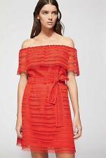 WITCHERY Size 8 Burnt Orange Lace Off Shoulder Mini DRESS with Belt