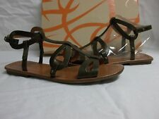 Via Spiga Sz 8.5 M Donnie Dark Olive Leather Gladiator Sandals New Womens Shoes