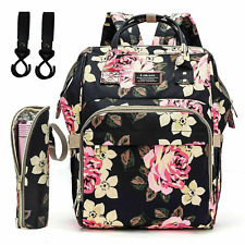 Mummy Diaper Bag Backpack Baby Nappy Handbag W/Insulated Bottle Changing Pad