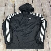 Adidas Womens Black/White Long Sleeve Full Zip Track Windbreaker Jacket XL