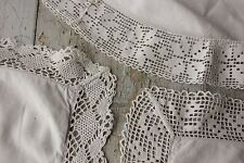 3 Vintage French pillowcases pillow slips lace edges THREE set cotton