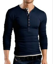 US Mens Muscle Henley T-shirt Double-breasted Long Sleeve Casual Slim Fit Tee M