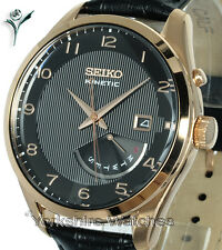 New SEIKO KINETIC BLACK FACE GOLD Day Date With LEATHER BUCKLE STRAP SRN054P1