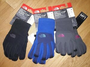 The North Face Youth Denali Etip Gloves Black/Blur/Grey Size M or L