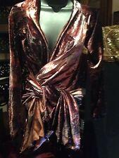 Nemesis Vintage Style Purple Tie Dye Stretch Velvet Gothic Wrap Shirt