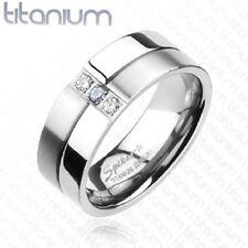 Titanium Mirror Finish & Brushed Metal Triple CZ 2-Tone Ring Solid Titanium Band