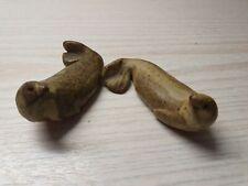 2x HAND CARVED STONE DOLPHIN  around 8cm